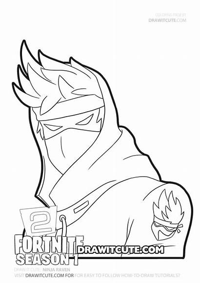 Fortnite Coloring Draw Ninja Chapter Pages Raven