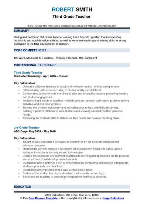 Grad Resume by 3rd Grade Resume Sles Qwikresume