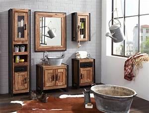 Bad Industrial Style : unterschrank bocas 67x62x42 cm sheesham altmetall badezimmer used look wohnbereiche bad ~ Sanjose-hotels-ca.com Haus und Dekorationen