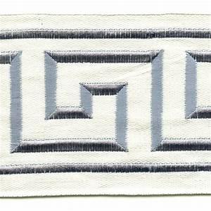 "Liaz Ivory Blue Gray Embroidered Greek Key 4"" Wide Tape"