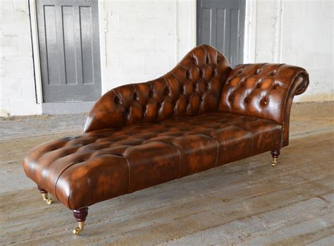 Chaise Lounge by Antique Leather Chesterfield Chaise Lounge Abode Sofas