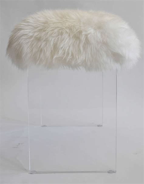 vintage lucite stool with faux fur topper at 1stdibs