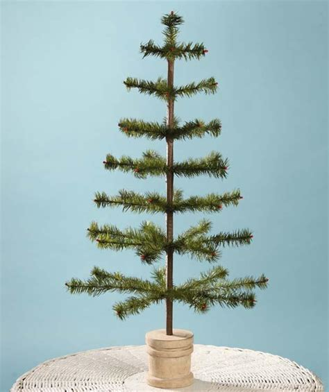 olive feather tree with wooden bucket base