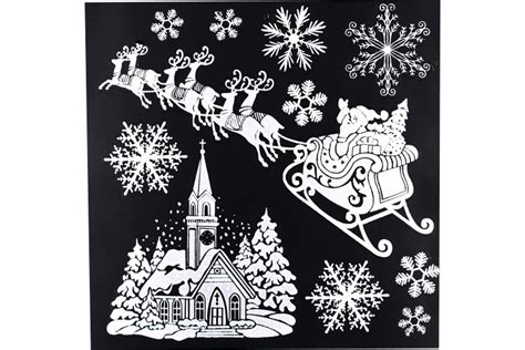 Stickers Repositionnables Pailletés De Noël, Pour Fenêtres