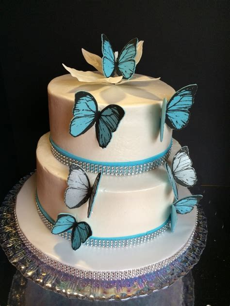 blue butterfly wedding cake  handmade edible