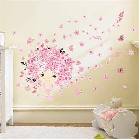 flower flower pink baby mermaid butterfly home decor wall sticker for baby