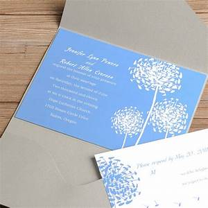 light blue dandelion silver pocket wedding invitations With wedding invitation sample light blue