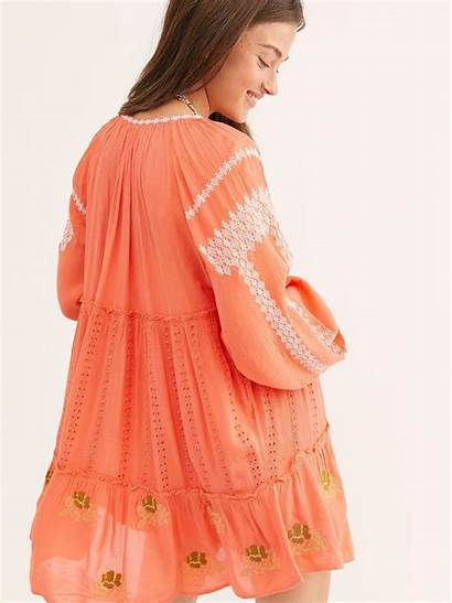 Horses Wild Mini Embroidered Coral Dresses