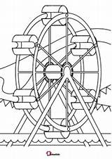 Coloring Amusement Park Wheel Ferris Bubakids sketch template