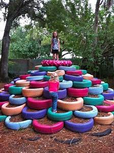 18 ) Upcycle used tires to make a playground