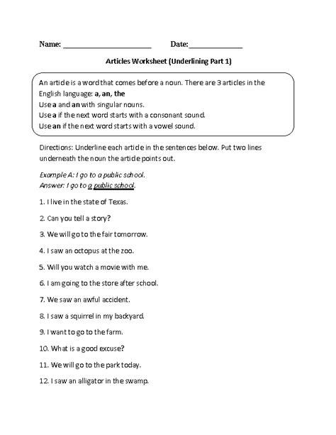 underlining articles worksheet english worksheets