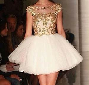 White and Gold Short Prom Dress | Prom dresses, Applique ...