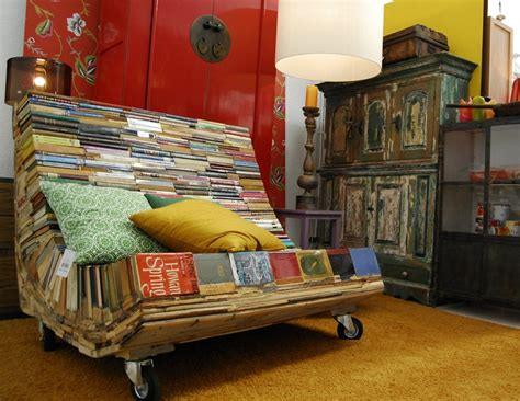 A Chair On Wheels Made Of Books