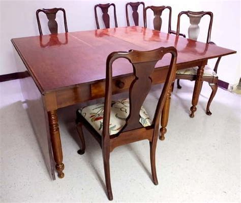 vintage gateleg cherry wood dining table 6 chairs 116 quot x