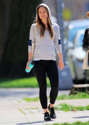 olivia wilde  tights jogging  nyc