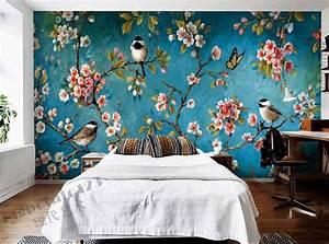 Indoor, Wall, Mural, Wallpaper, Plum, Blossom, Peach, Apple
