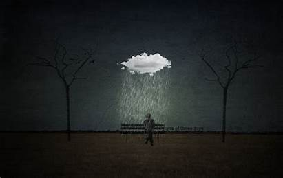 Rain Sitting Silhouette Bench Trees Under Tree
