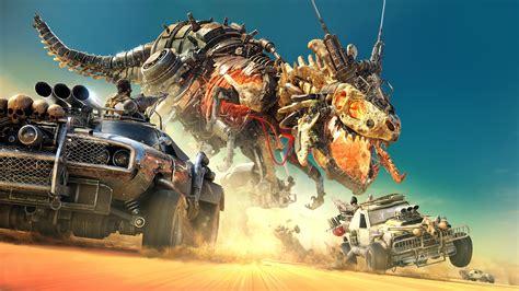 digital art car dinosaurs sand desert battle robot