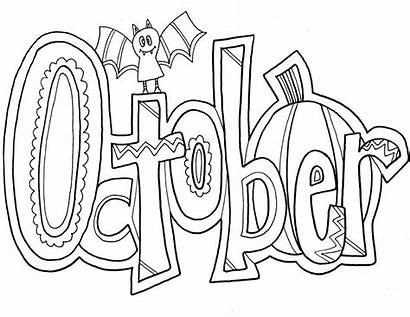 Coloring Month October Pages