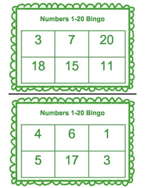 bingo numbers 1 20 by diving into learning teachers pay teachers