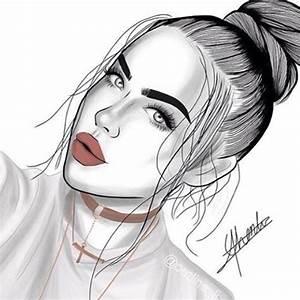 outlines, outline, tumblr girl, draw, drawing, art, black ...