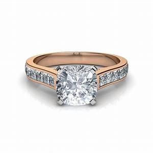 Channel Set Cushion Cut Diamond Engagement Ring in 14K ...