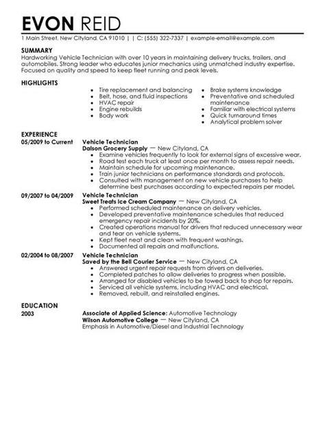 Aircraft Mechanic Cv by Resume Exles Diesel Mechanic Resumeexles 1