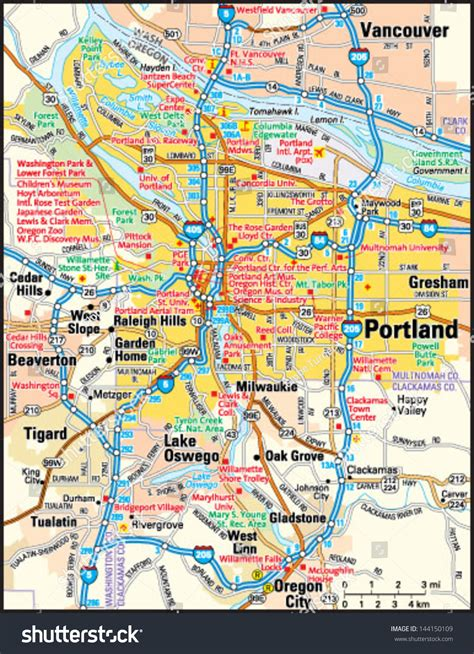 portland oregon area map stock vector  shutterstock