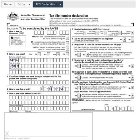 ato tfn application form tfn declaration driverlayer search engine