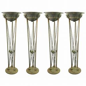 Italian grand tour iron and copper torchiere floor lamps for Copper floor lamps torchiere