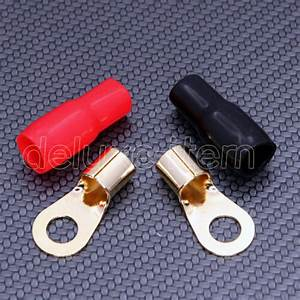 2 Car Audio Power Gound Wire Battery Ring Terminals Gold 4