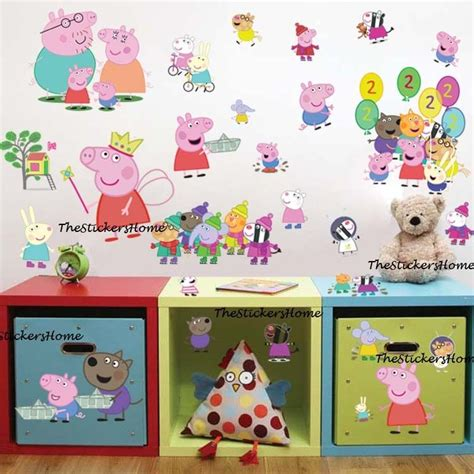 And Friends Bedroom Decor by 27x Peppa Pig George Family Friends Wall Stickers Baby