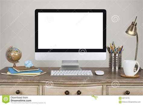 workspace background with desktop pc and accessories on vintage table stock photo image 60714770