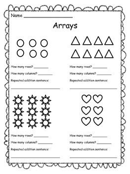arrays worksheet free by the clever teachers