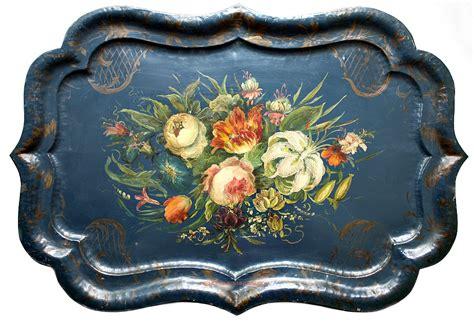 antique hand painted toleware blue chippendale floral tole
