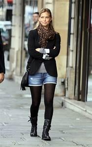 Bar Refaeli in Denim Shorts and Tights  Celebrities in Designer Jeans from Denim Blog