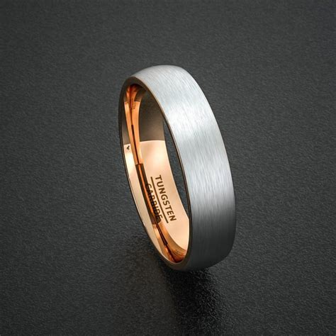 mens wedding band tungsten ring  tone mm brushed white