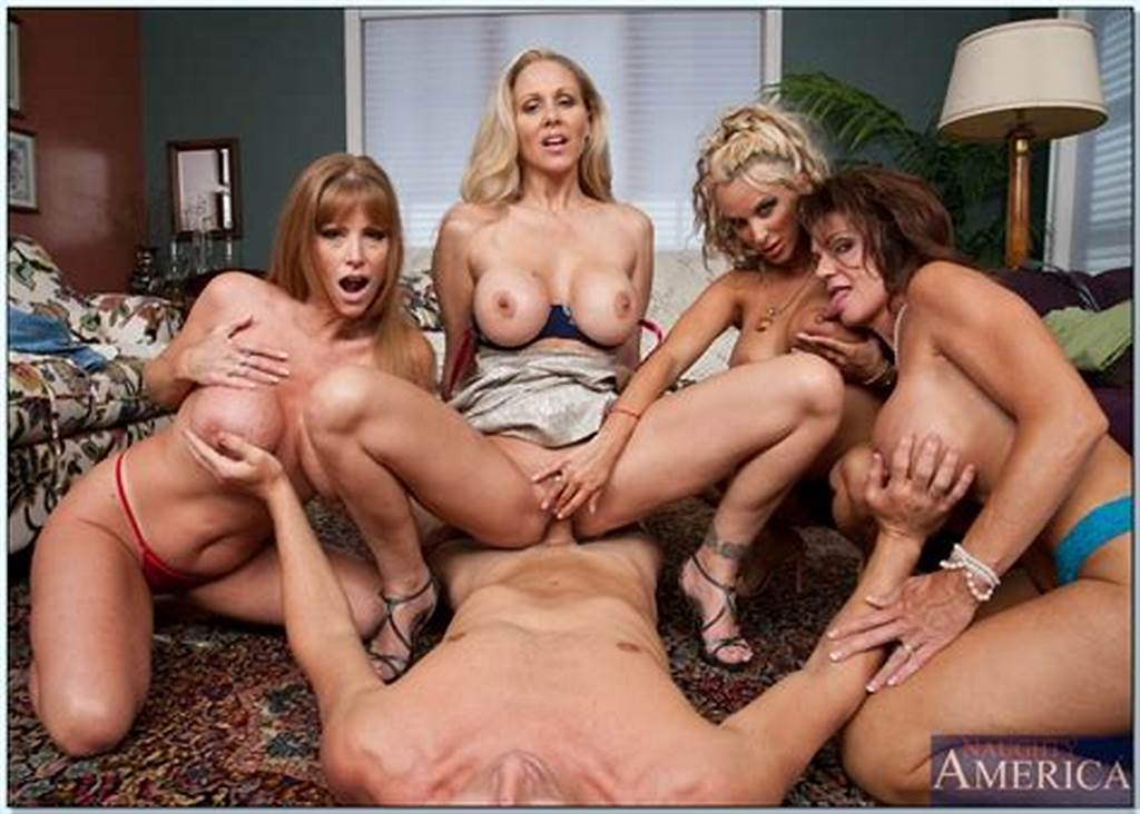 #Four #Naughty #Milfs #With #Comely #Juggs #Sharing #One #Cock #In #A #Hot #Orgy
