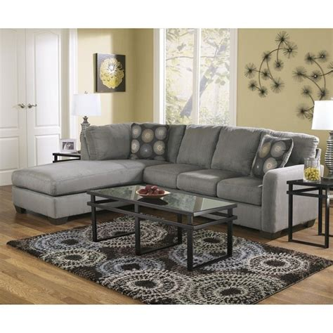 ashley furniture microfiber sofa furniture zella microfiber sofa sectional in charcoal 7020016 67 kit
