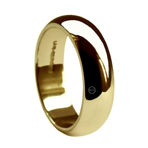 8mm yellow gold d shaped wedding rings band 9ct 375 uk