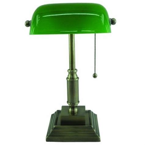 bankers l office desk table antique brass fluorescent green vintage look new ebay