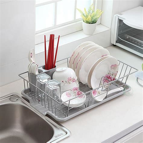metal rack for kitchen sink stainless steel dish rack with plastic drain board