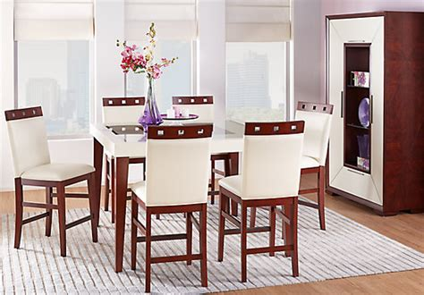 savona ivory  white  pc counter height dining room contemporary