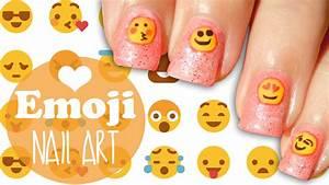 Pink glittery emoji nail art ? how to paint a glitter