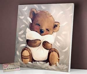 Tableau Pour Chambre Bébé : tableau ourson tendresse vente tableau ourson pour enfants doudou nounours en cadre ~ Teatrodelosmanantiales.com Idées de Décoration
