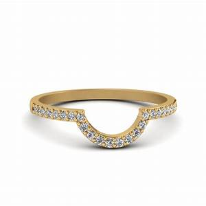 Petite Curved Diamond Wedding Band In 14K Yellow Gold