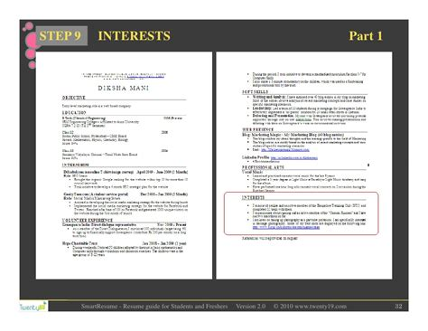 Filling Out Resume Interests by Resume Writing For Students And Freshers