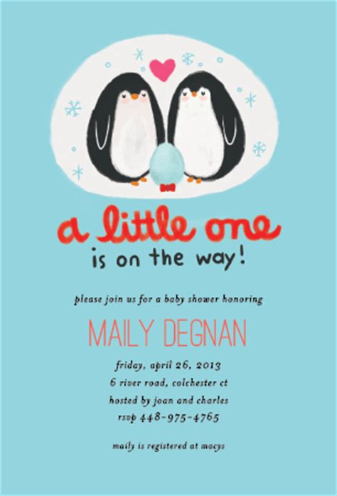 Penguin Family Animal  Ee  Baby Ee    Ee  Shower Ee   Invitation Oubly Com