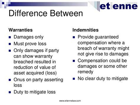 warranty versus guarantee contracts warranties and indemnities 2011