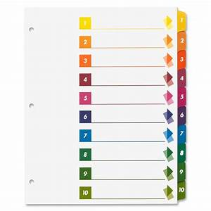sparco table of contents index dividers ld products With avery table of contents template 10 tab